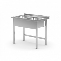 Stół z dwoma zlewami bez półki