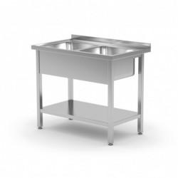Stół z dwoma zlewami i półką