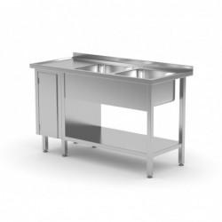 Stół z dwoma zlewami| półką...